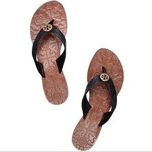 Tory Burch Thora Flat Thong Sandal Black 7 NIB